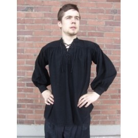 Typical medieval cotton shirt Black M