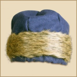 wollen cap Ragi with fur Blue